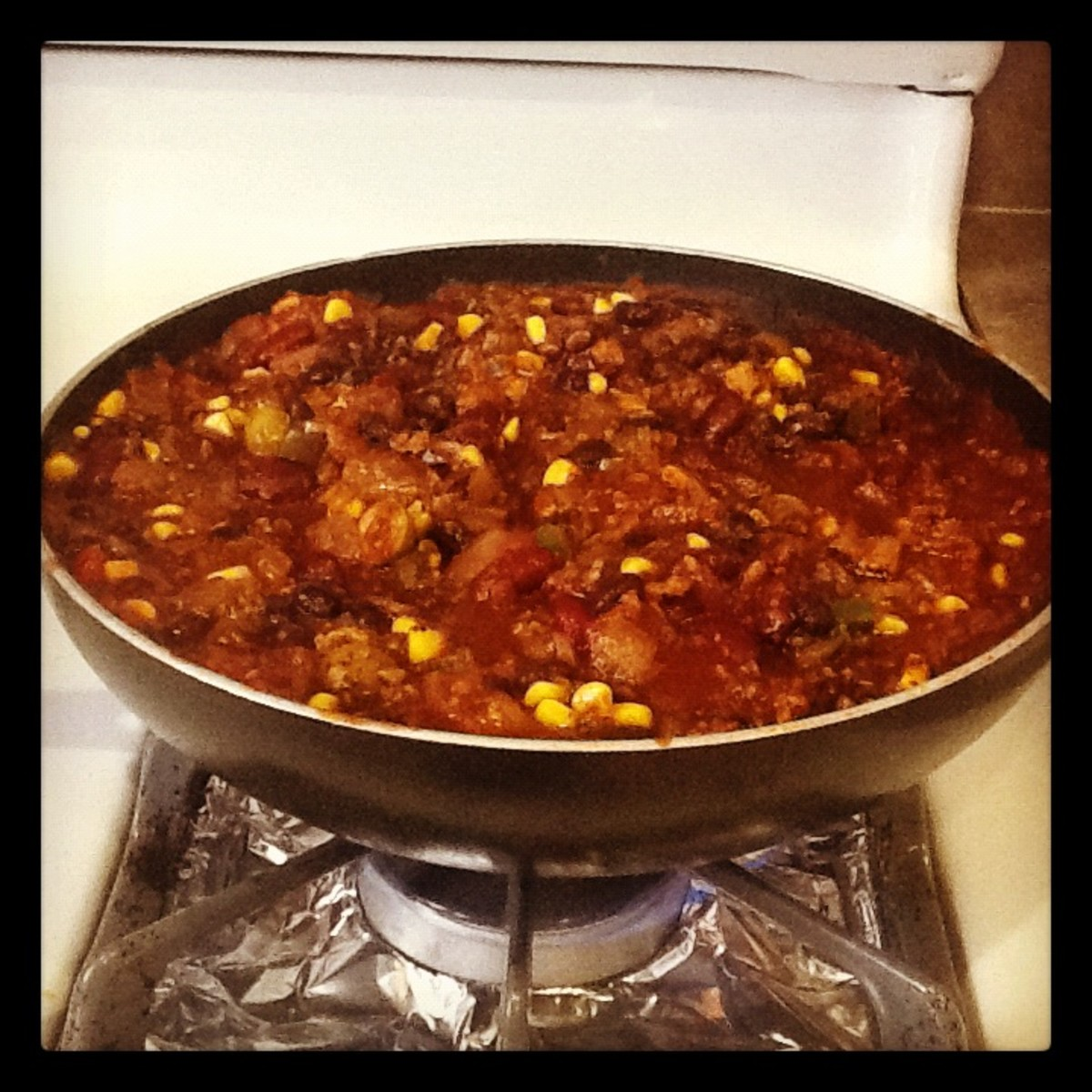 This is vegetarian chili made with TVP crumble.