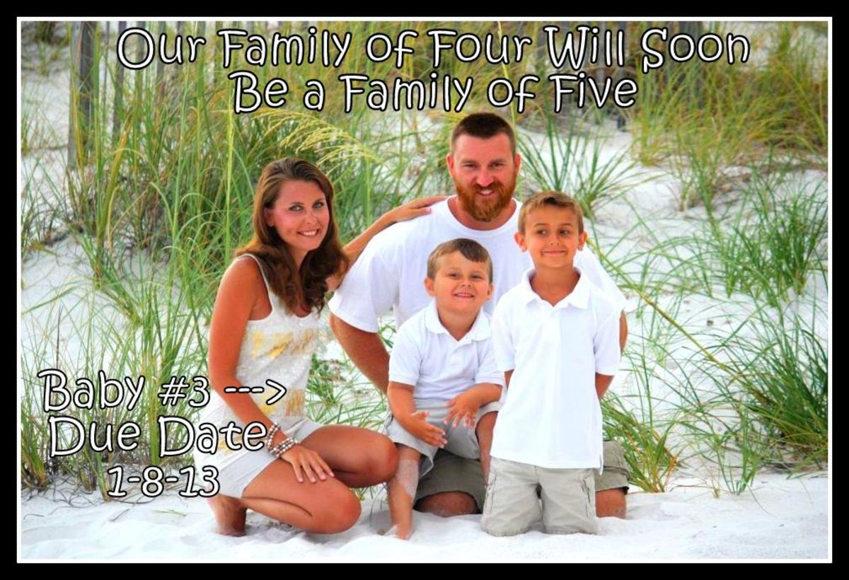 A family photo with added wording makes a great pregnancy announcement.
