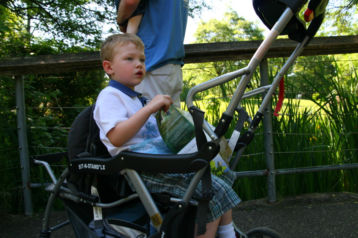 Older kids can hitch a ride on the back of a Sit and Stand Stroller.