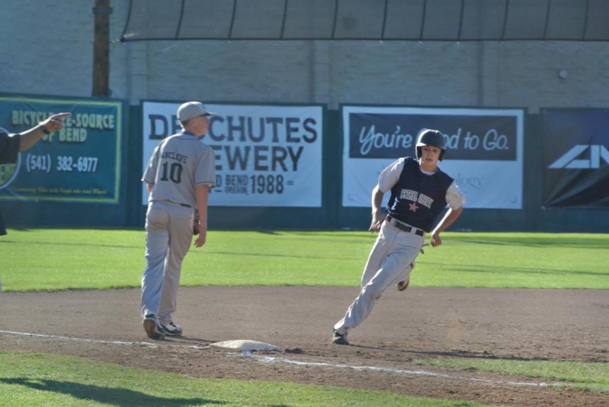 Running bases at a baseball game
