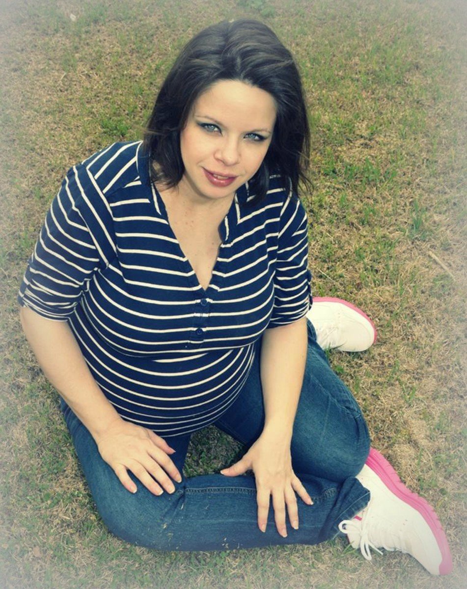 Me, eight months pregnant with twins. The breech positioning made the SPD less cripping at times.