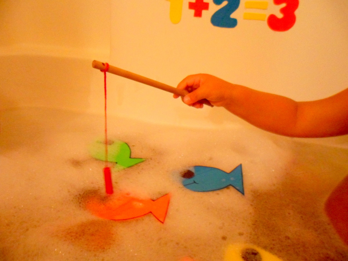 Our finished bath tub fishing game.