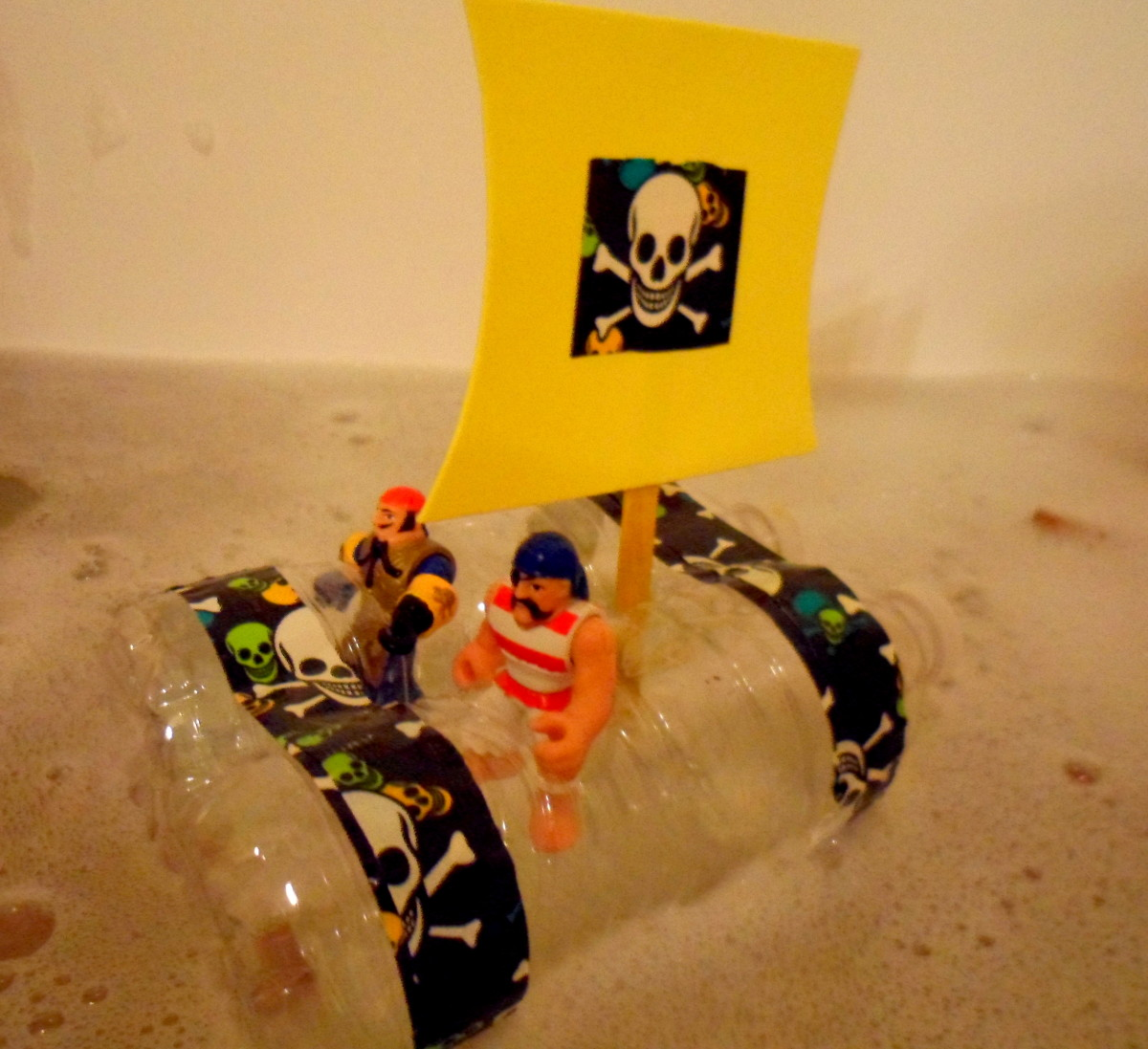 Our finished pirate ship for the bath tub.