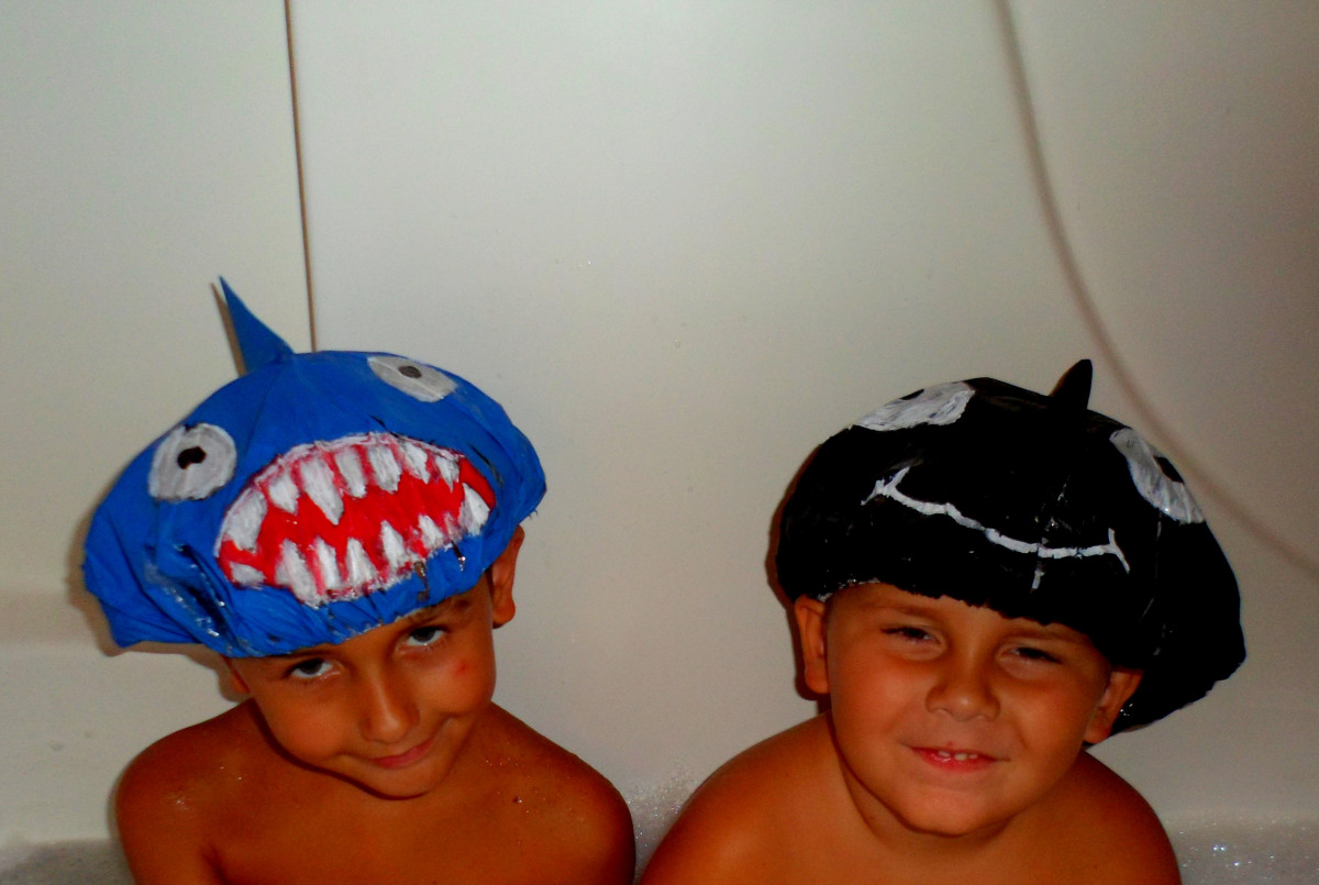 Our finished shark and whale shower caps.