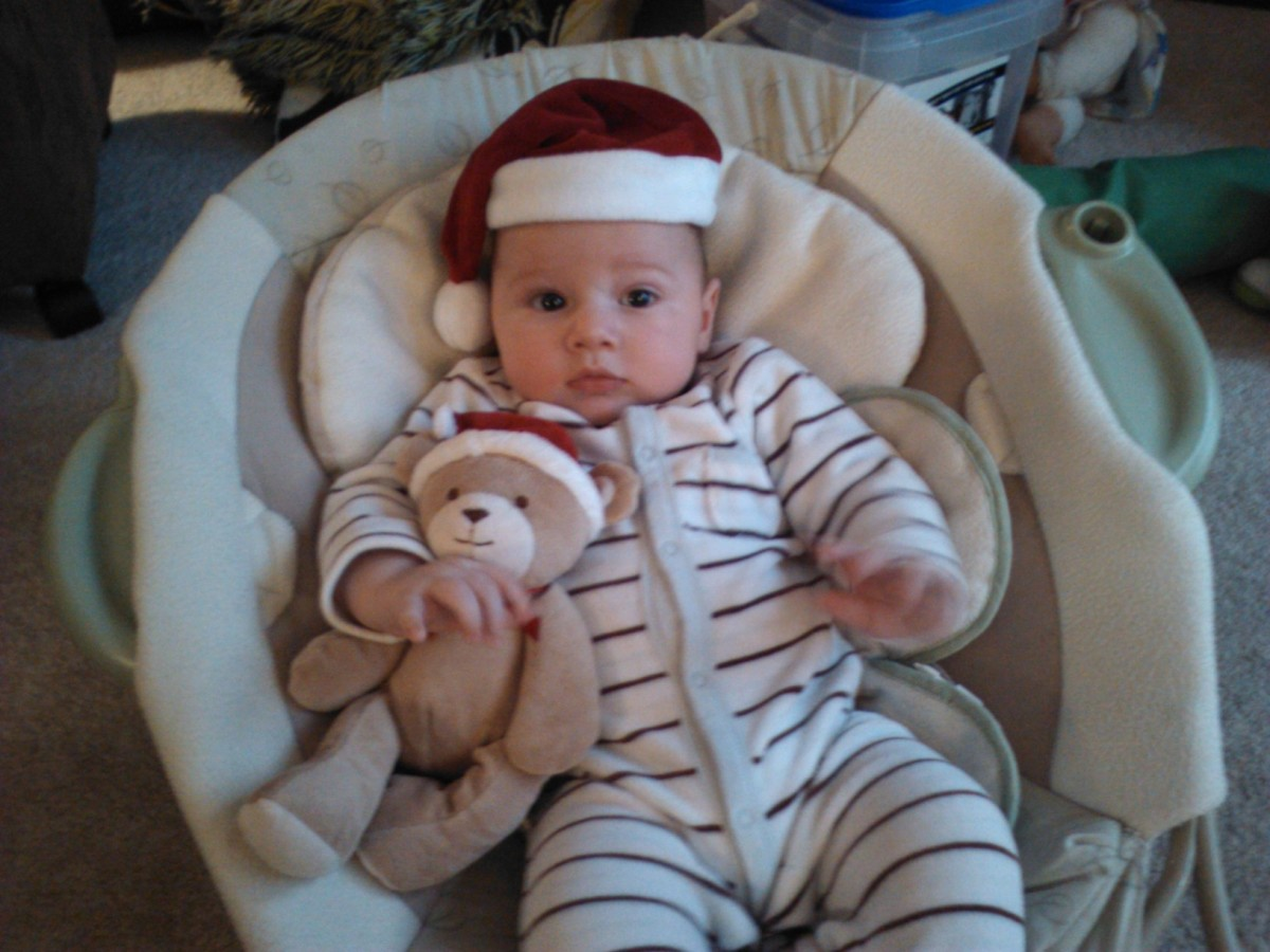 Christmas time as Ethan turns 4 months.