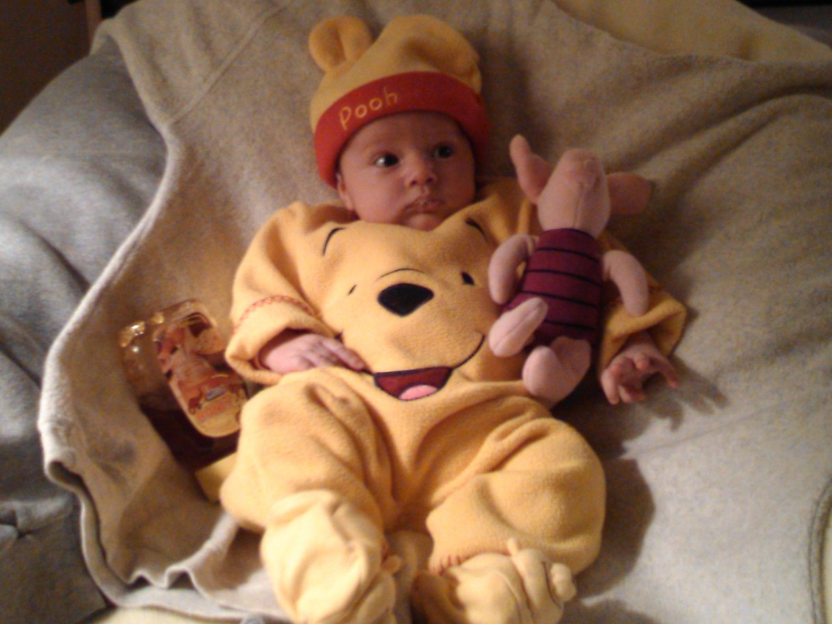Ethan dressed as Winnie the Pooh for Halloween.