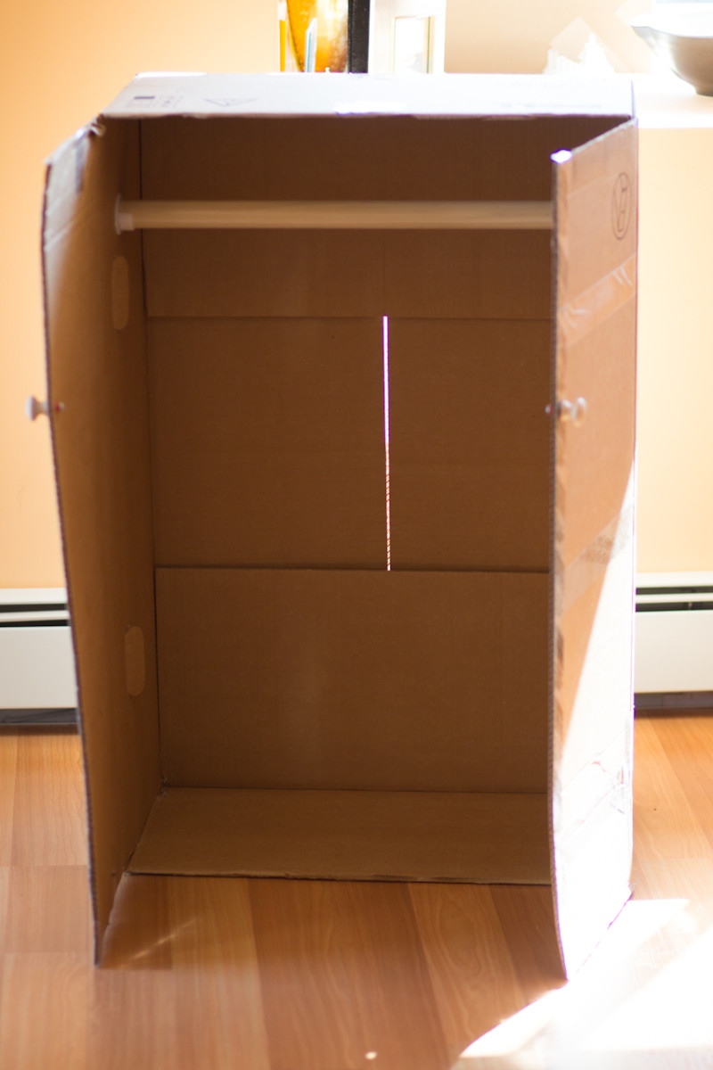 After installing hardware, inspect your mini closet for any imperfections that may need to be taped. Most boxes do have a seam or a space  in the back that needs to be taped.
