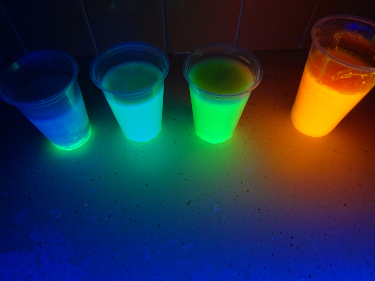 Chalk soaking in glowing water mixtures.