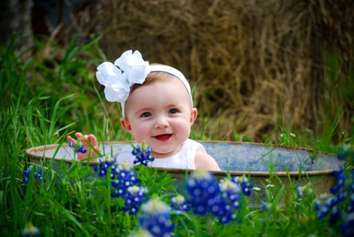 #4 Baby Girl with White Bow in Old Fashioned Bathtub