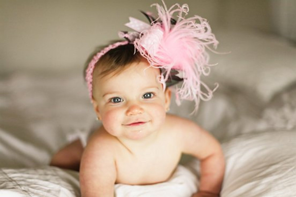 #5 Baby Girl with Pink Headband and Pink Feathers