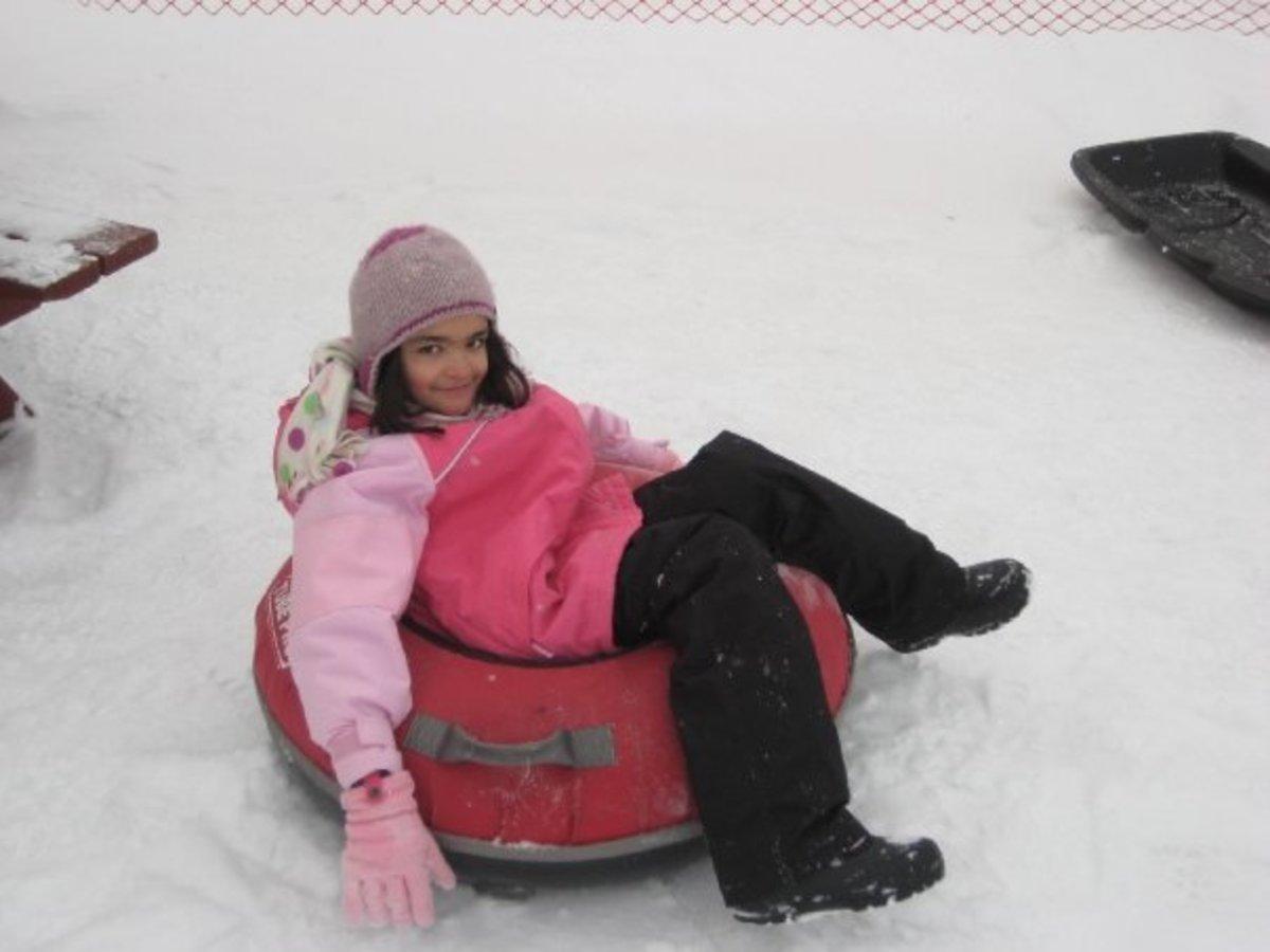 Snow tubing fun.