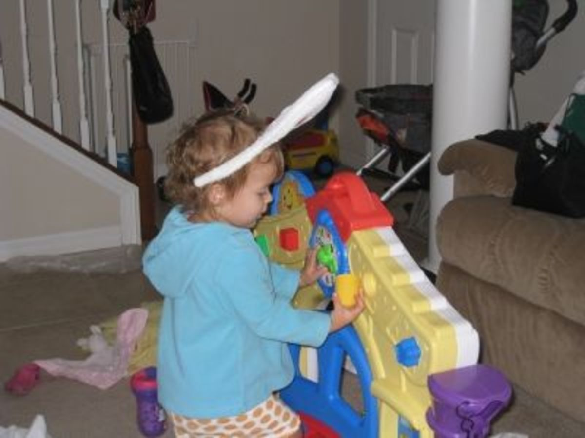 28 months old and she's still enjoying the shapes....and her rabbit ears