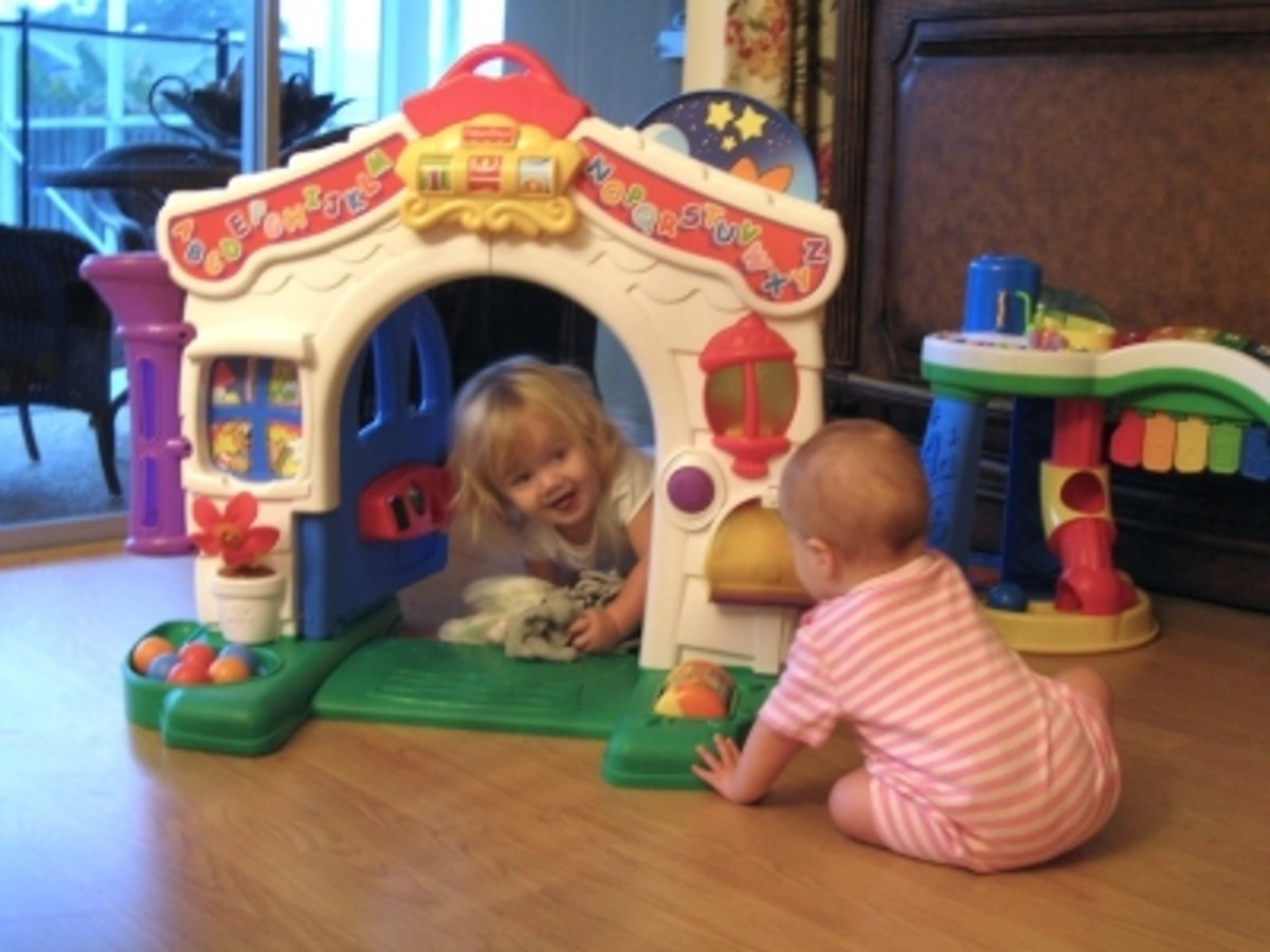 My niece, age 19 months and my daughter, age 5 months playing with the learning home