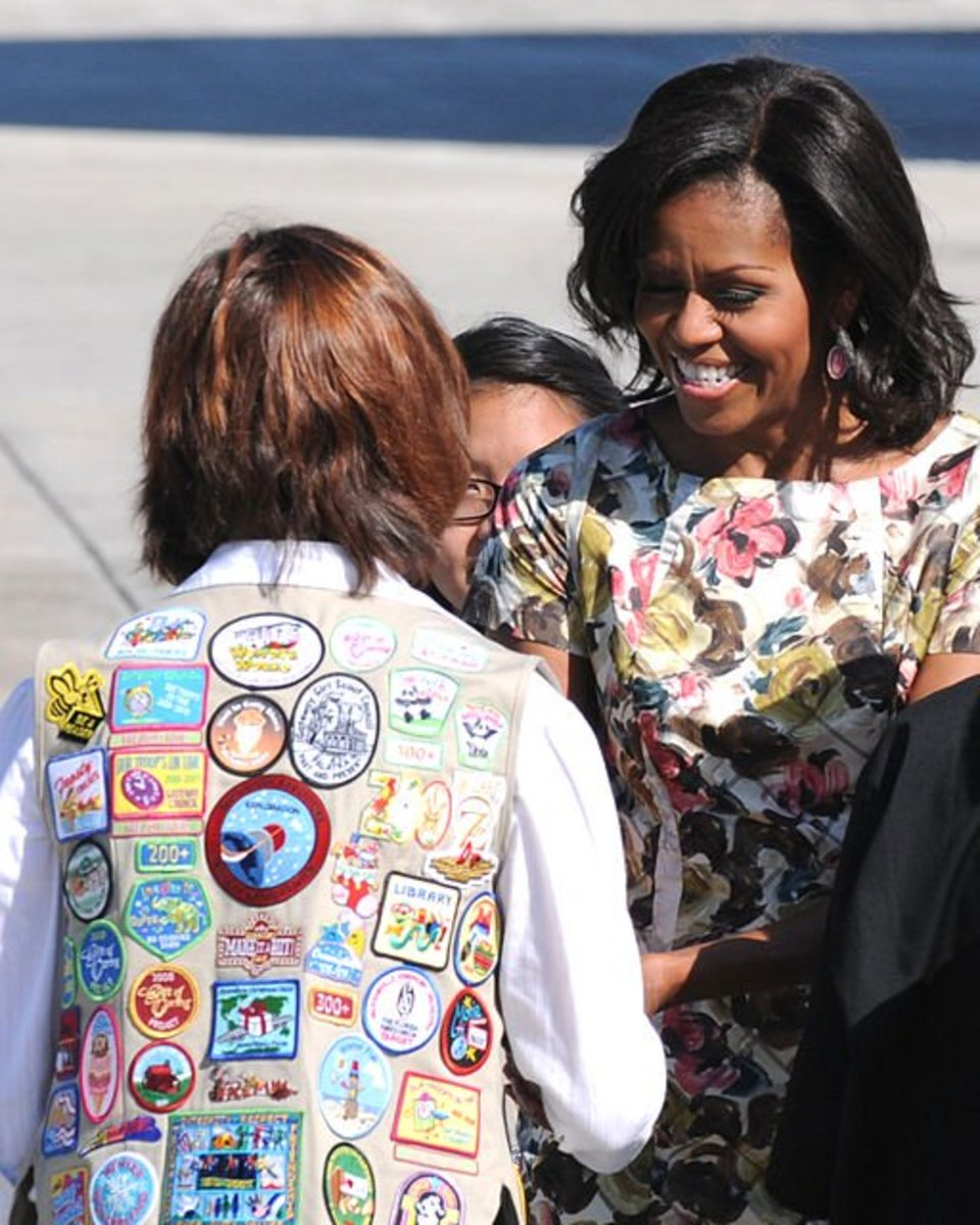 This Cadette vest displays a bunch of fun patches on the back.