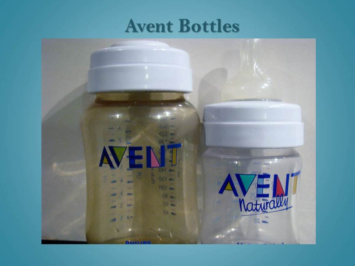 Two Avent bottles of different sizes. One is tinted, as many Avent bottles are.