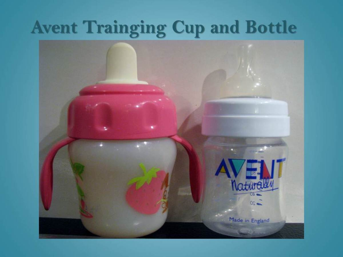 An Avent training cup next to an Avent newborn bottle.