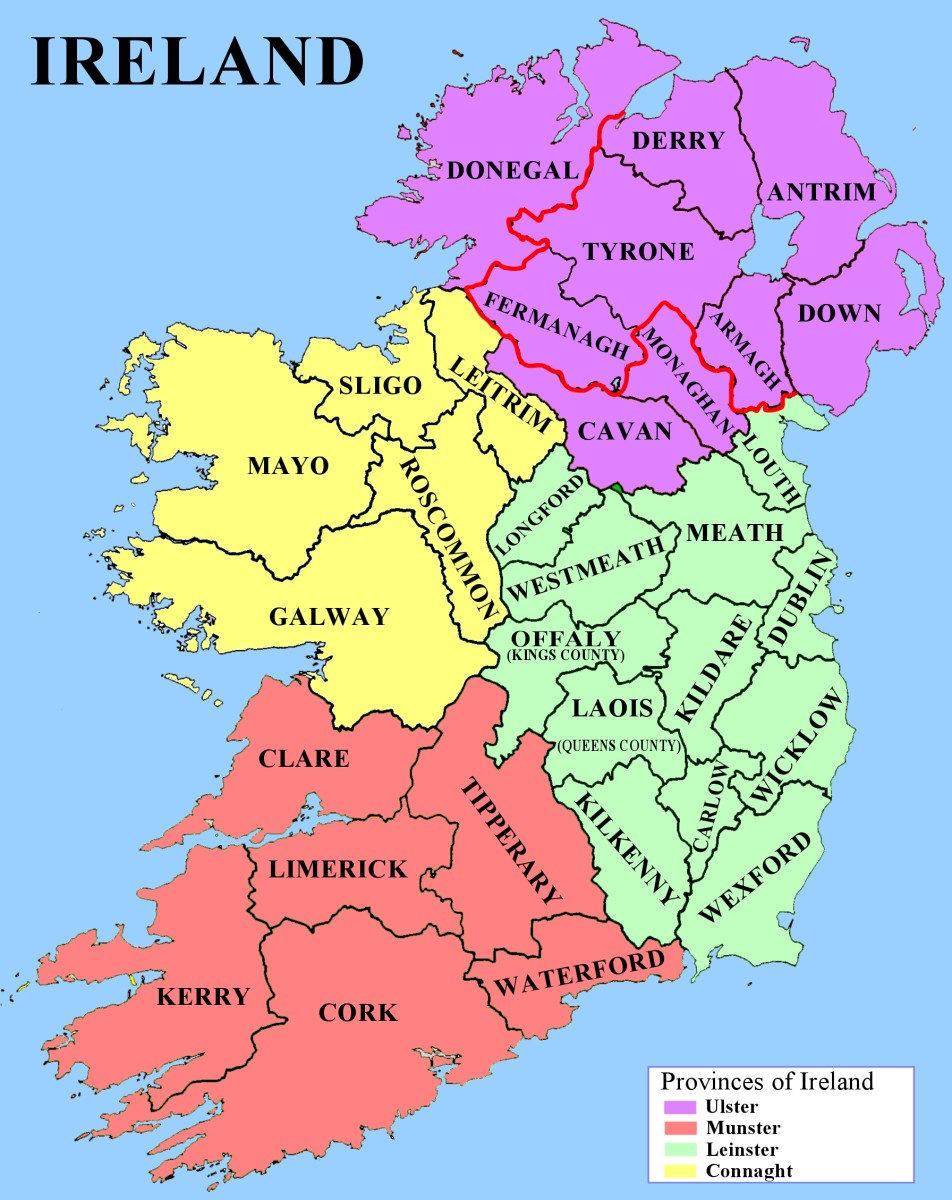 Counties and provinces of Ireland - Border between Northern Ireland and Republic of Ireland indicated by red line
