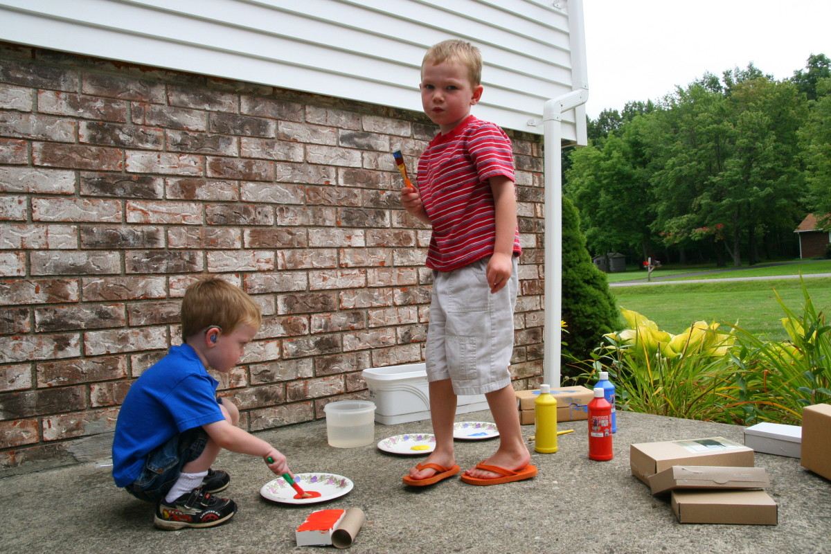 Let the kids paint the boxes. This is a fun activity - but might be a bit messy!