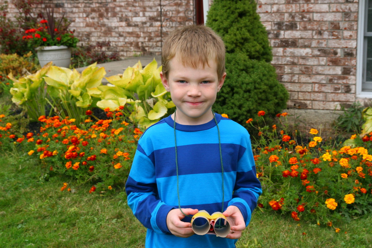 The author's six year old son used duct tape to make his own set of binoculars.