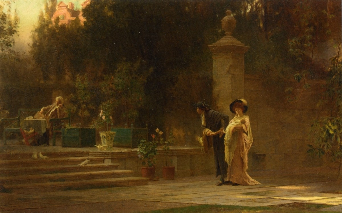 1800s painting of a wealthy husband and wife walking in a park with their baby.