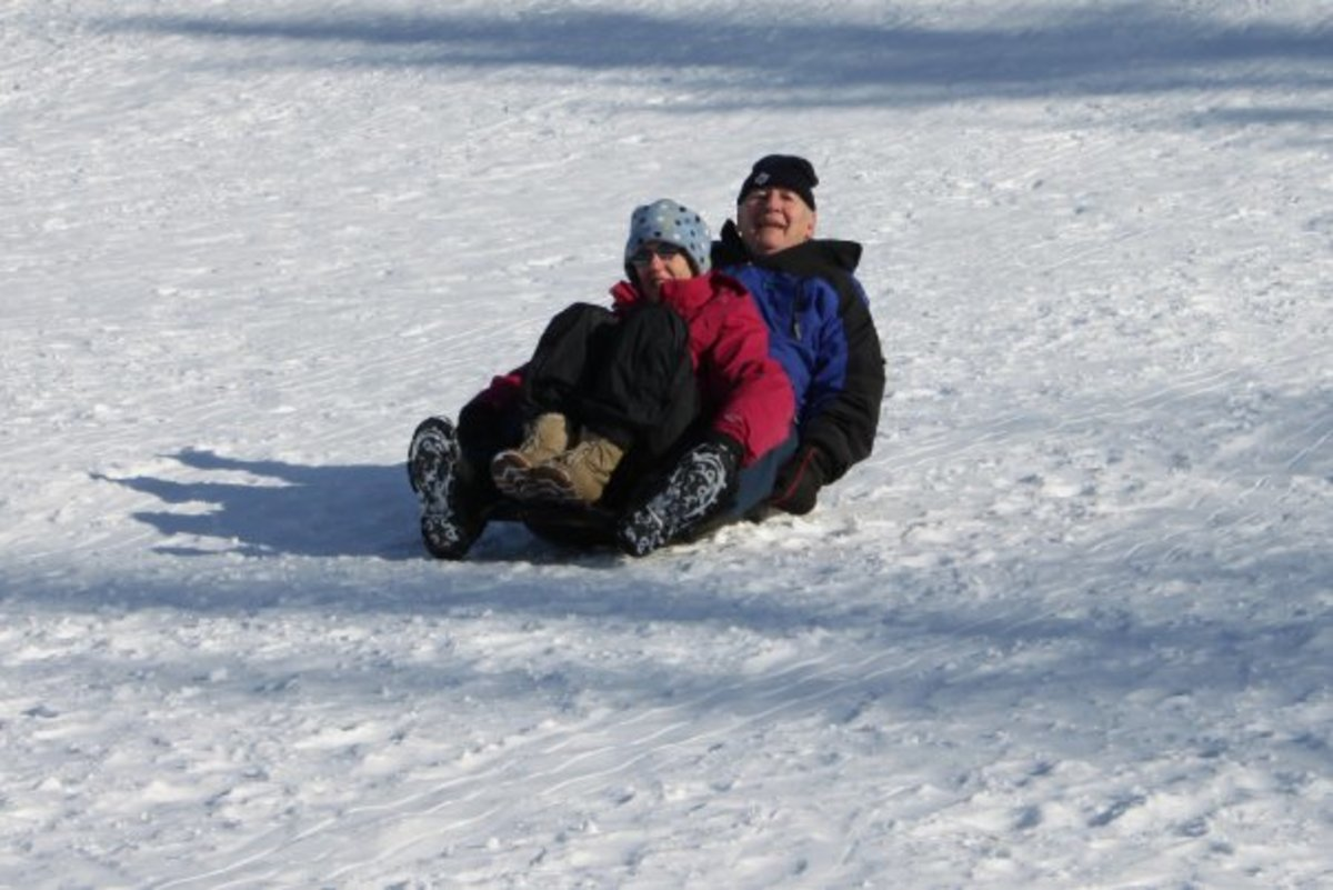 Sledding brings out the little kid in everyone - even grandparents!