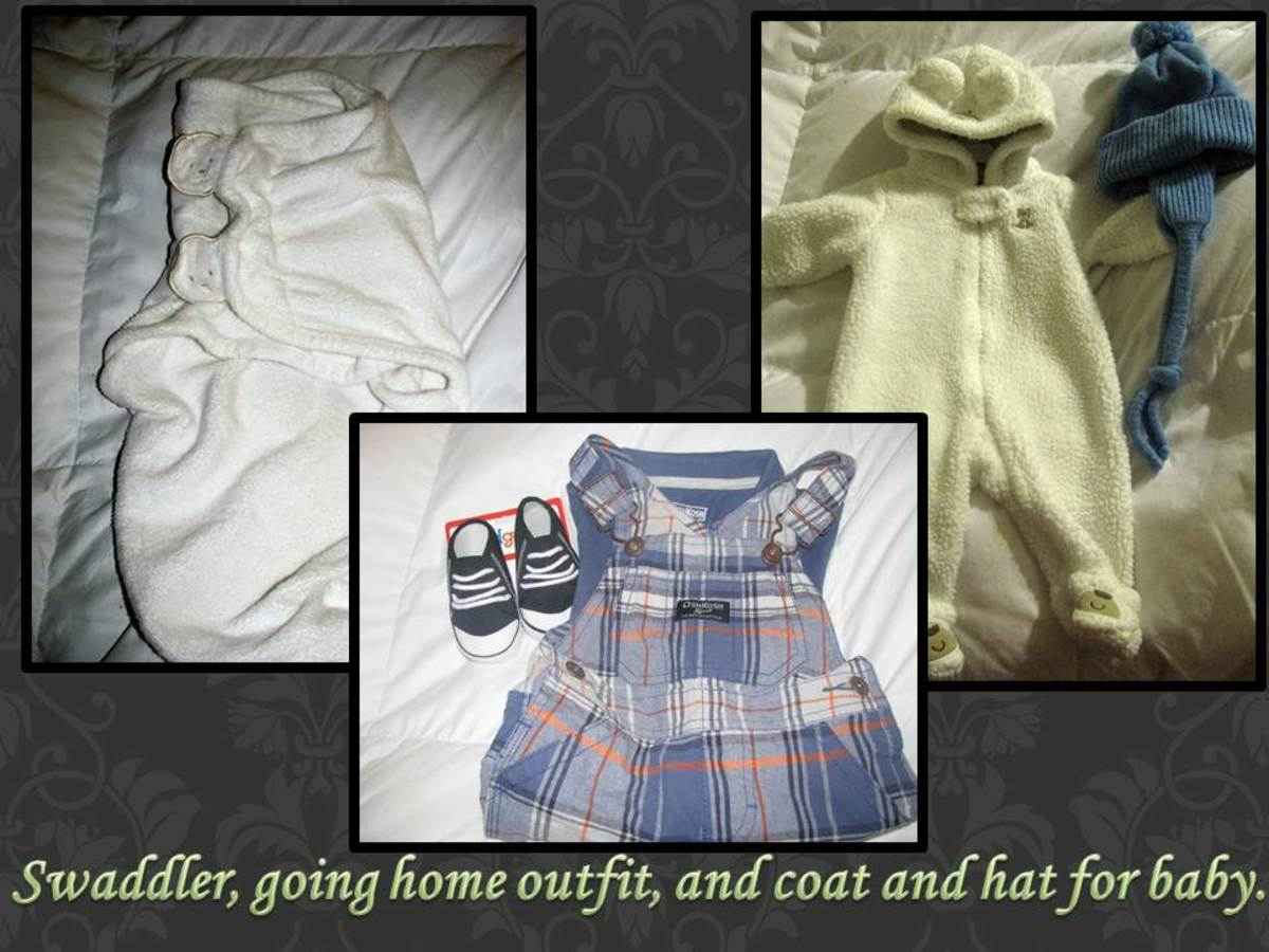 A few things you can bring for baby: swaddler, going home outfit, and a coat and hat (for the chilly months).