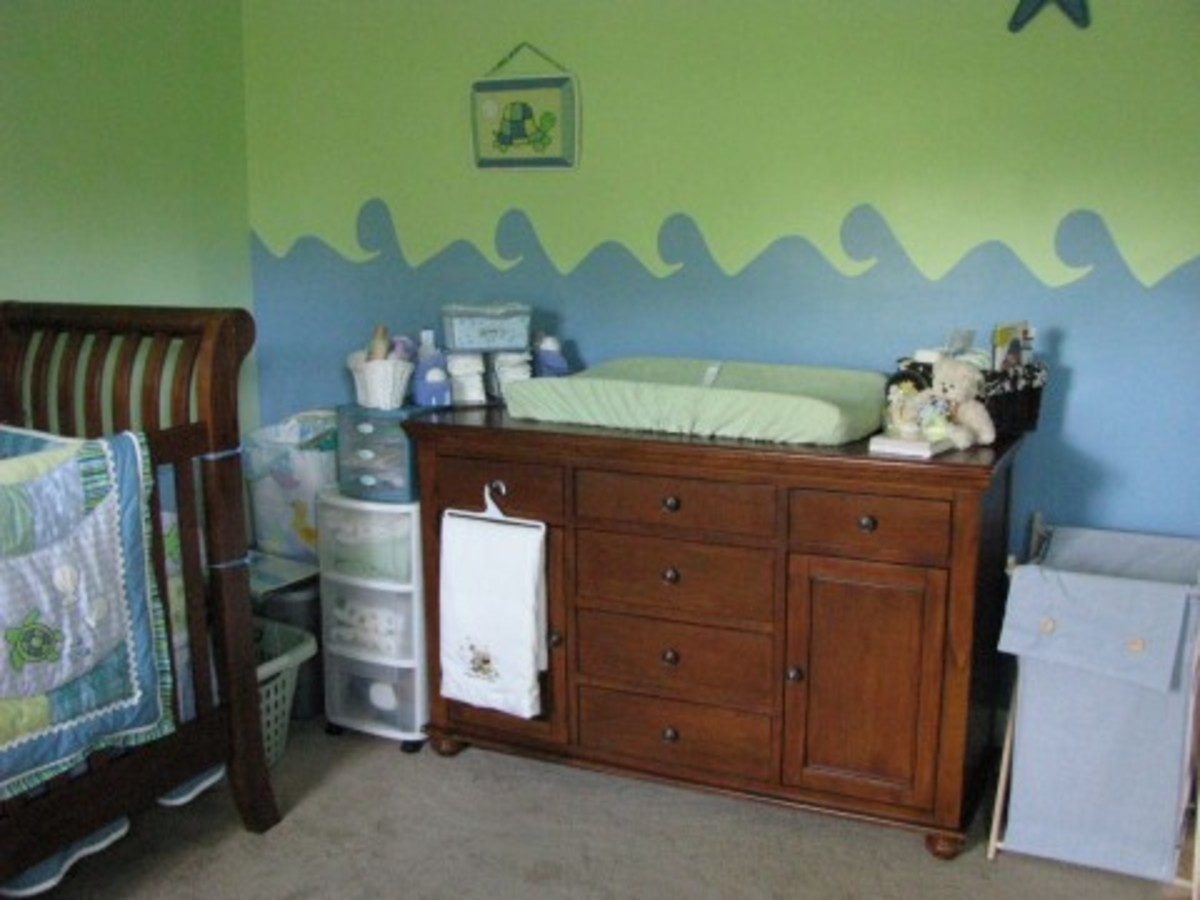 Prepare the baby nursery by adding baby furniture that is practical and helps you stay organized.
