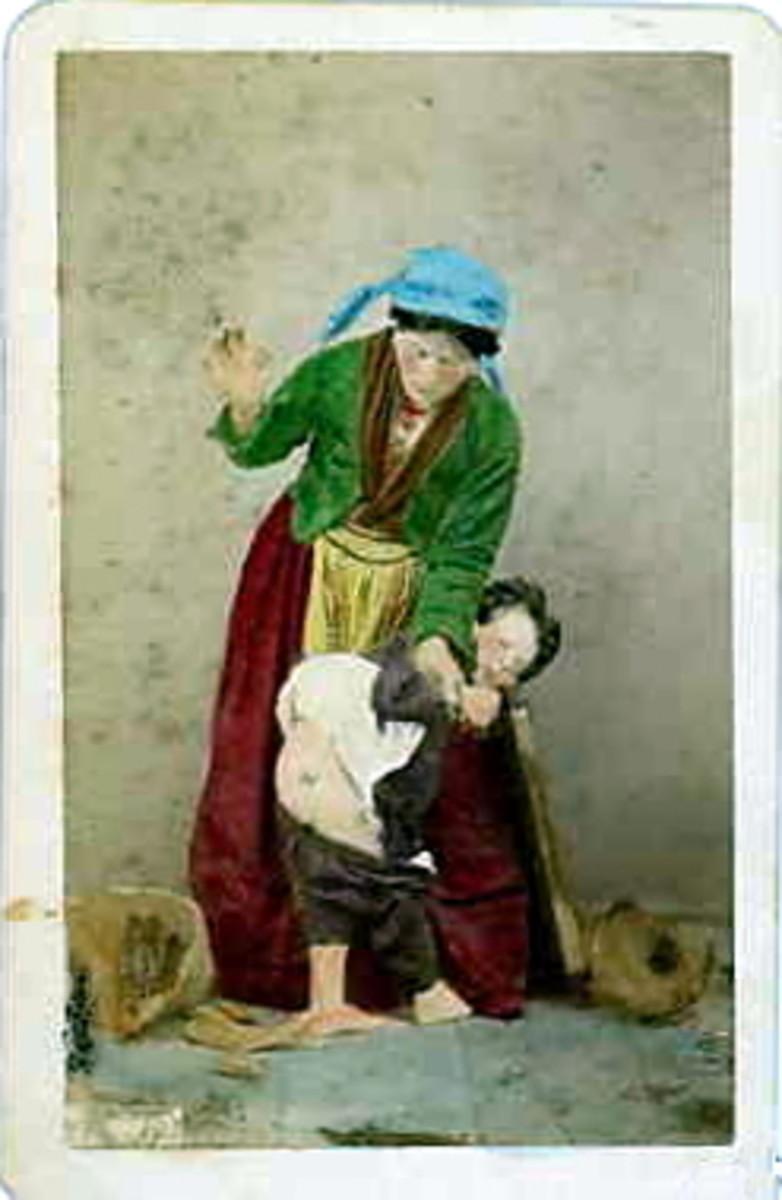 """Street Scene,"" Giorgio Conrad (1827-1889) People used to spank their kids in public."