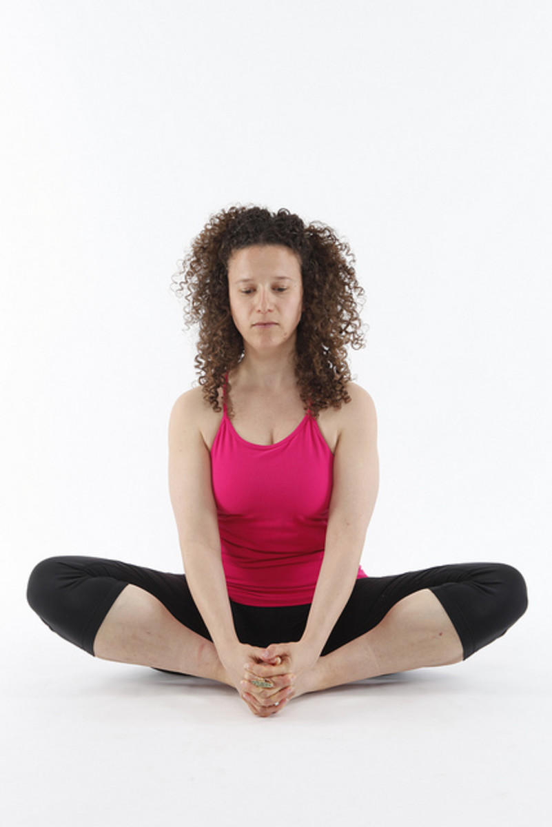 Enhance this pose by leaning the body forward, releasing even more tension in the groin and hip area.