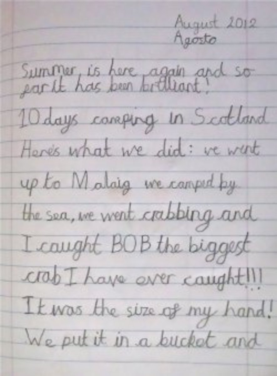 His best handwriting at 12 years old. He sat up straight, had a sharp pencil and lots of time. I helped him with spelling. He decided on the content.