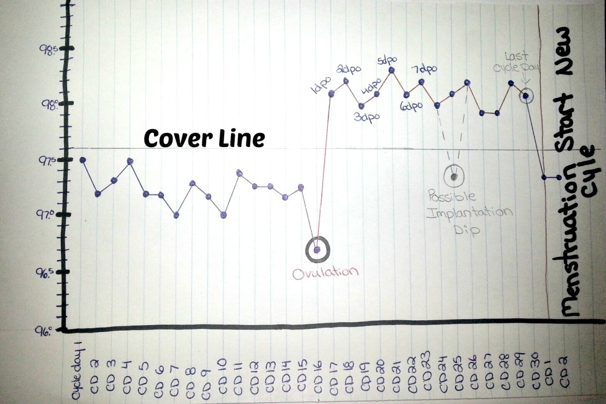 This photo shows how a cover line works. The cover line is drawn 0.1 degree above your highest follicular phase temperature.