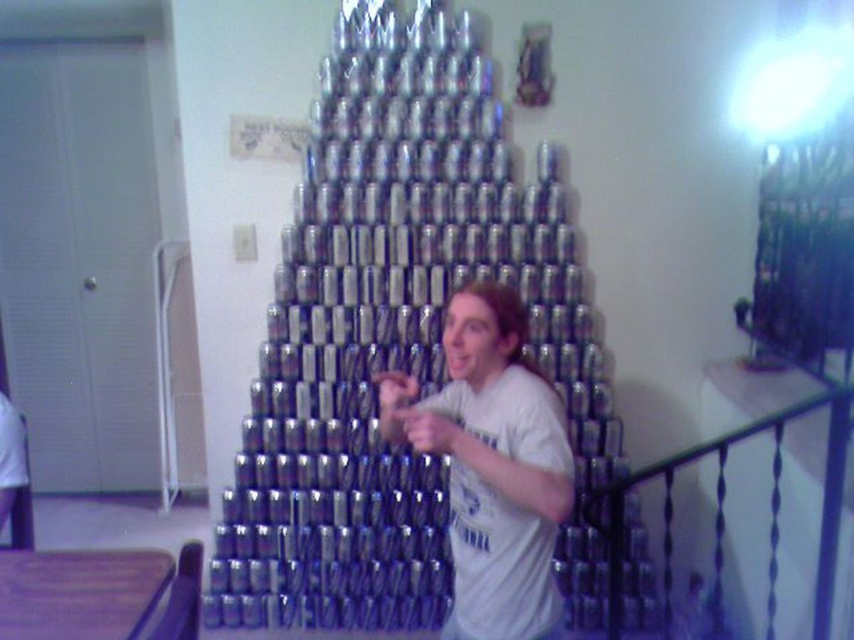"This guy's ""beer-a-mid,"" is a pretty strong indicator that he drinks beer. Collections of drink containers are a tip off to teen partying."