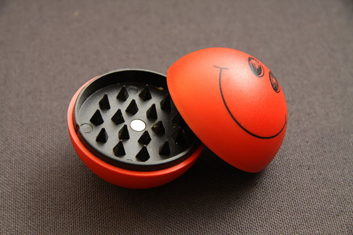 A grinder or crusher is used for grinding dried leaves such as tobacco or marijuana.
