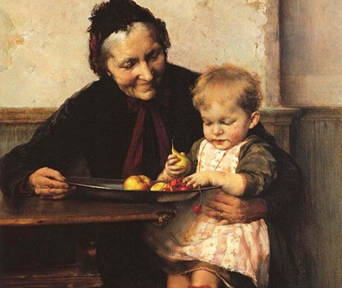 """Grandma's Favorite.""  Painting by Georgios Jakobides (1853-1932)."