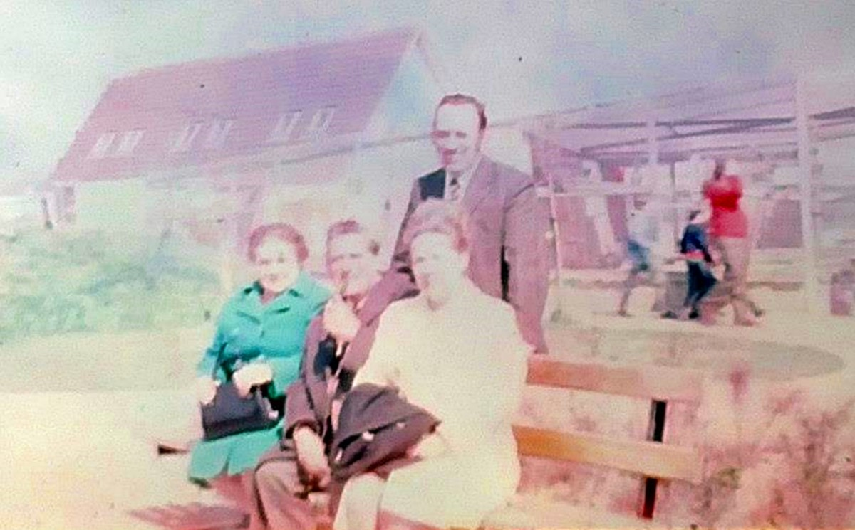 A family day out in the 1970s: Seated (from left) are grandma, grandad and mum, with dad standing at the back.