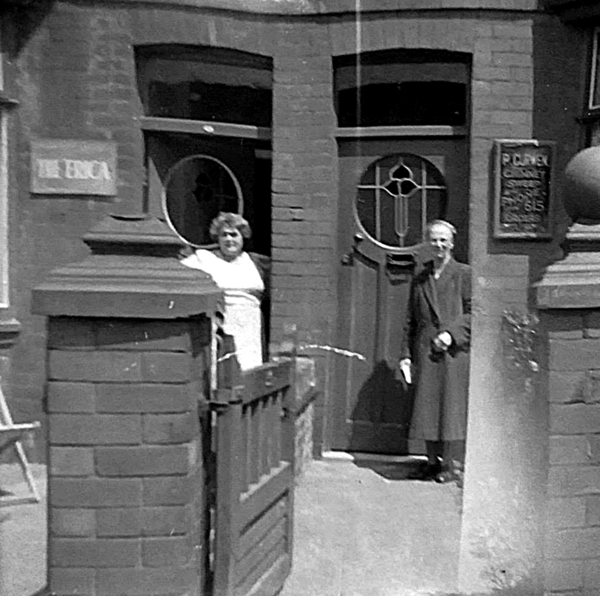 Grandma (pictured on the left) having a chat with her next-door neighbour, Mrs Curwen, in the early 1960s. Her husband, Mr Percy Curwen, was a chimney sweep and they lived at 50 Queen Victoria Road.