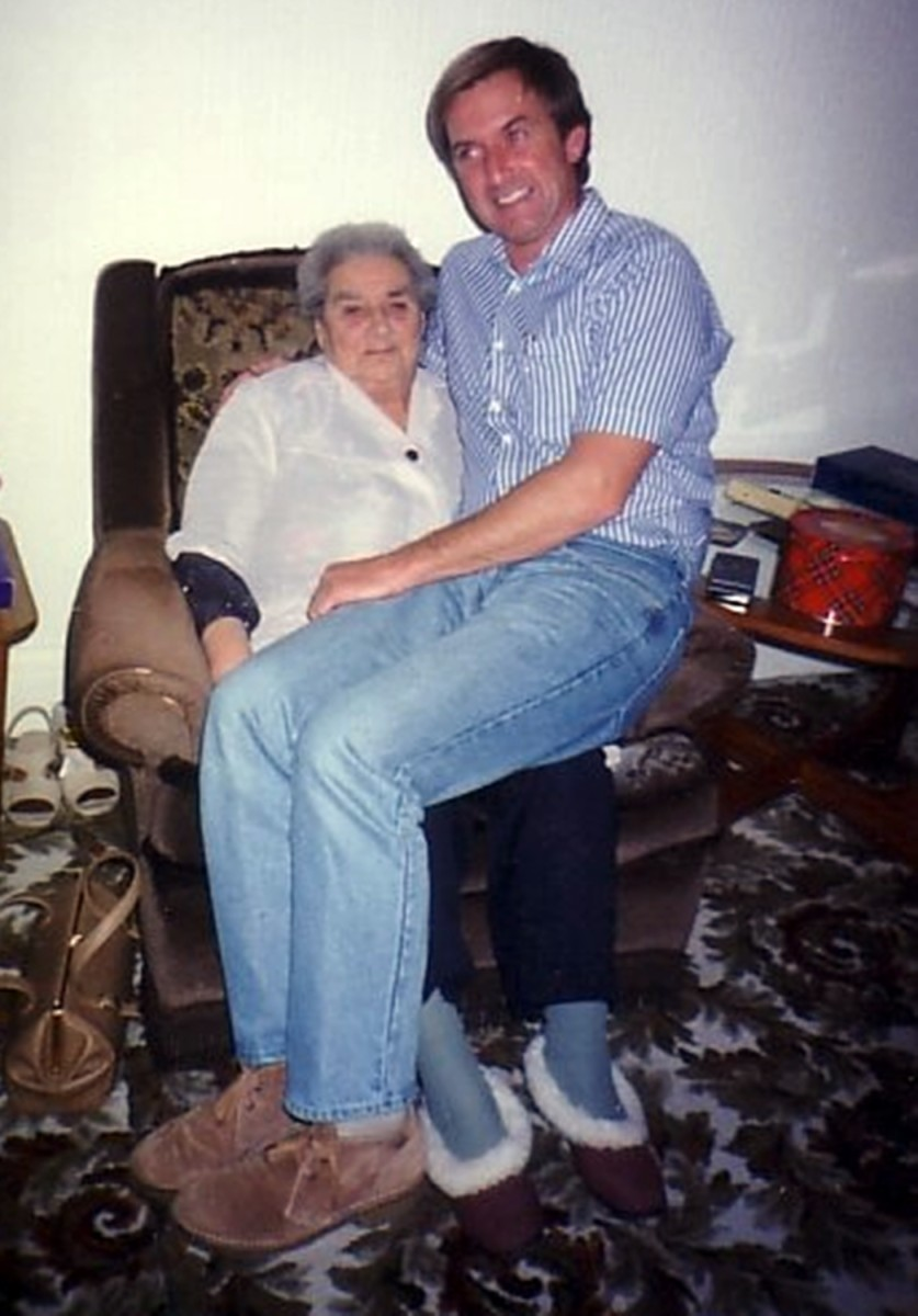 One of my favourite photos, which always makes me smile, shows my grandma, who was approaching 80 by this time, with my older brother Eric. He was fooling about after grandma said he would 'always her her little grandson' no matter how old he was!