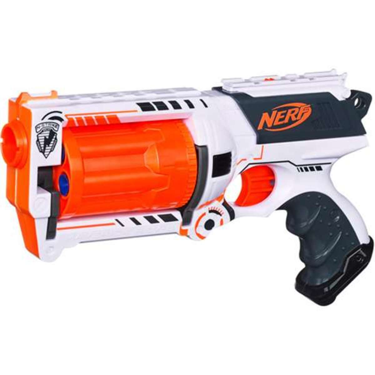 "The slide primer is the back portion of the gun where the ""Nerf"" logo is, right above the trigger. To operate this blaster you would need to grip onto this portion of the gun and pull back. You can see how this process would be much more difficult fo"