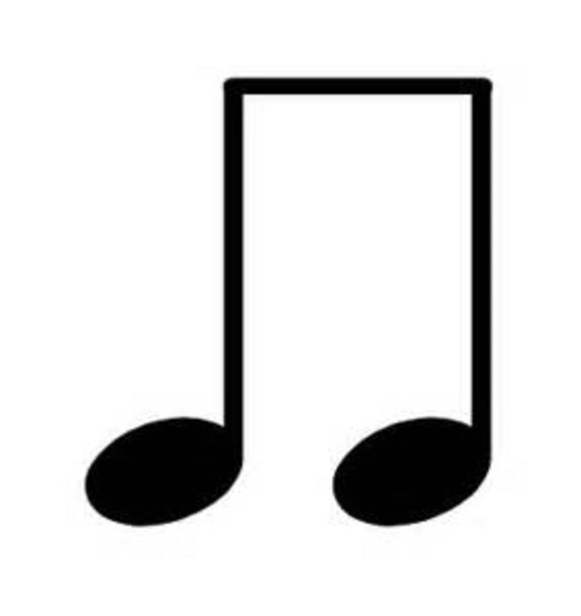 Two eighth notes equal one quarter note.