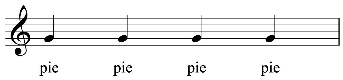 The word, pie, moves in quarter notes.