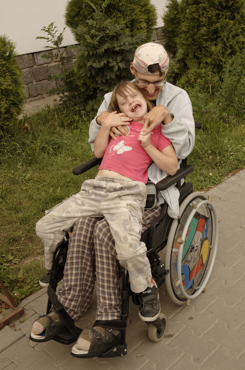 Disabled dad in wheelchair