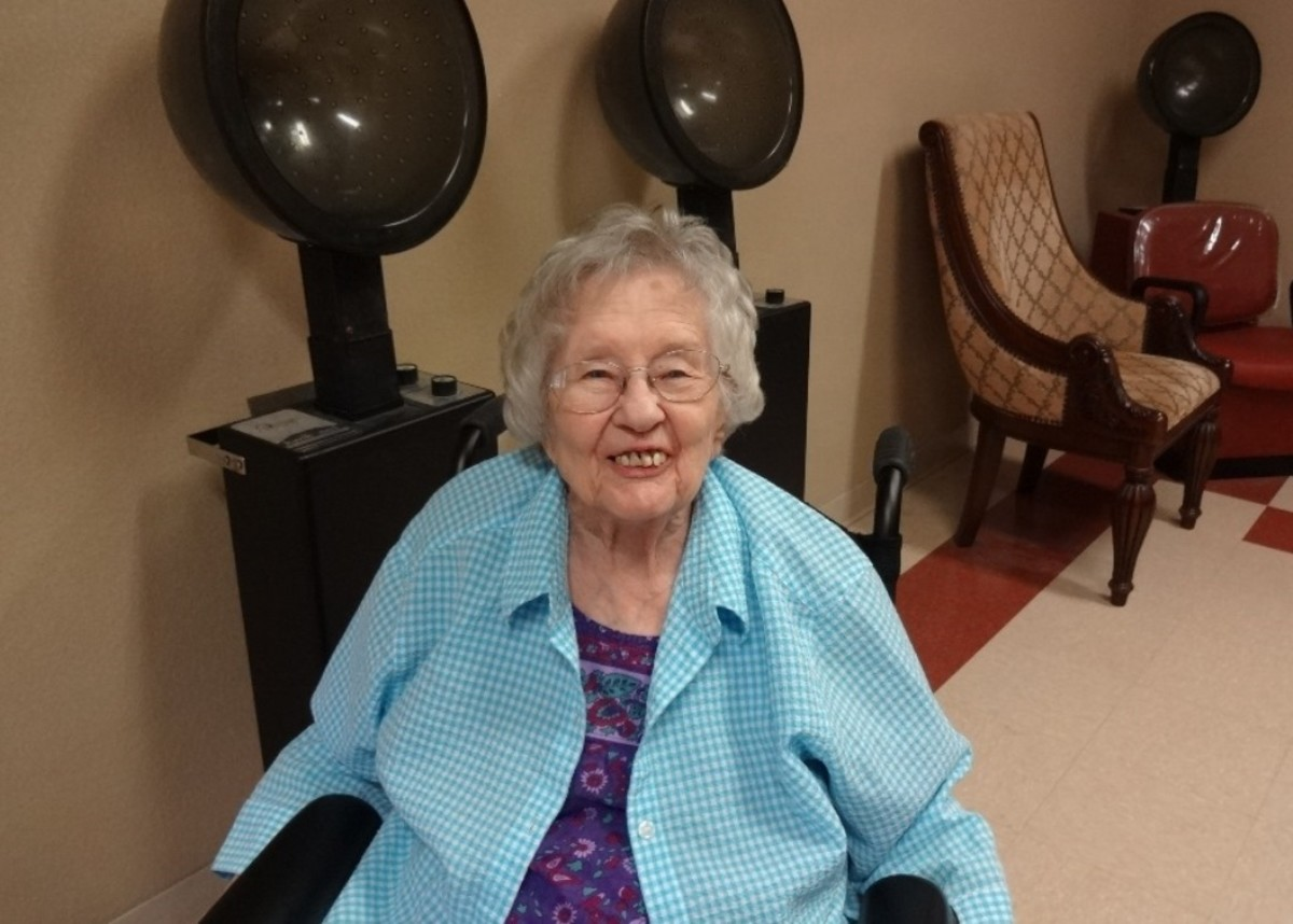 A new hair style is uplifting for a nursing home resident.