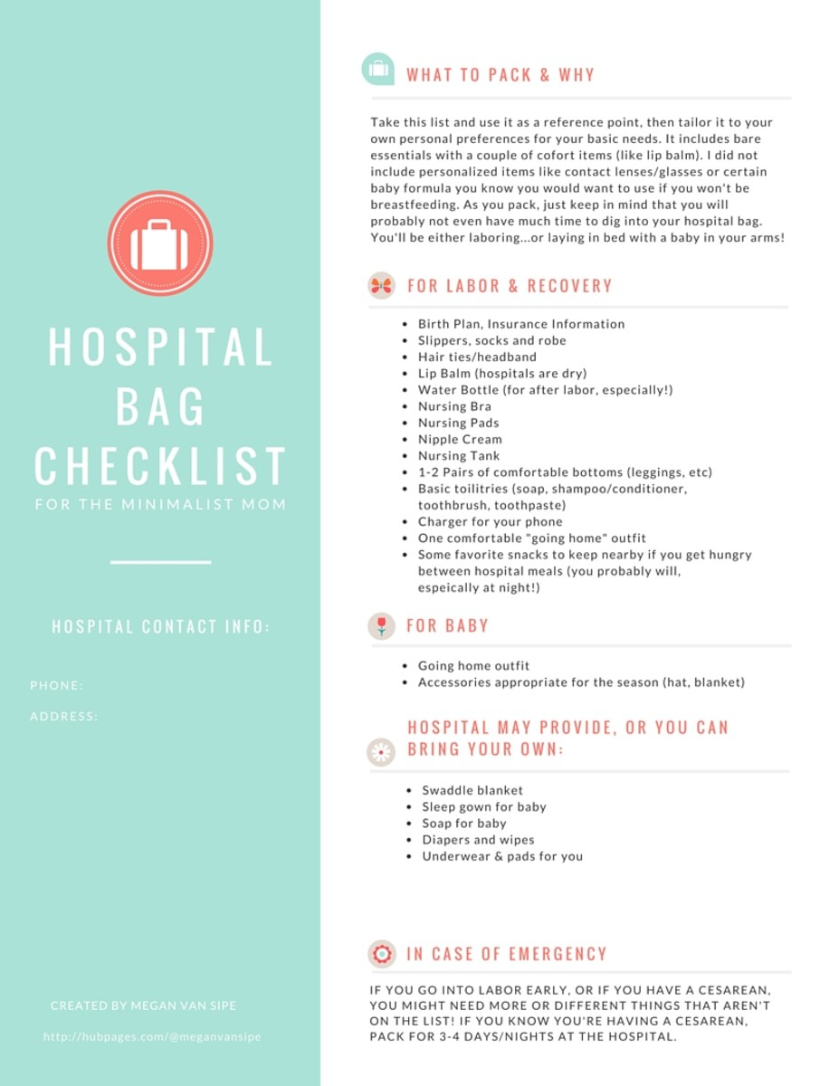 Hospital Bag Checklist for the Minimalist Mom - - -  Print this checklist and be sure to pack your bag by 36 weeks at the latest!