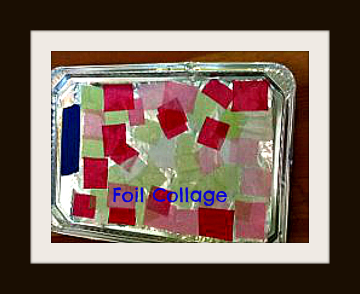 Foil collage shines and sparkles! This one was made by a preschooler with tissue paper squares and glue.