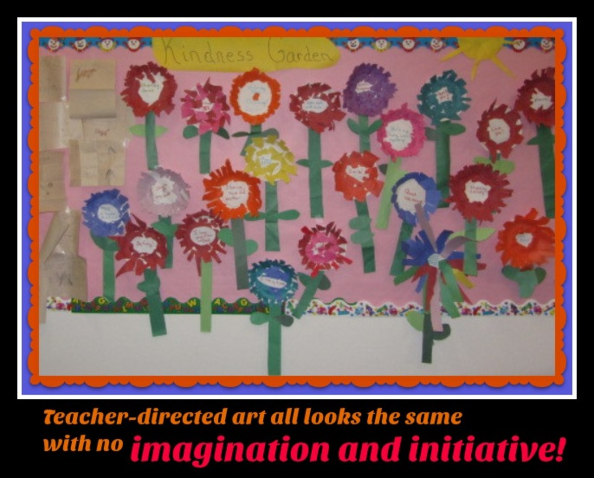 All these flowers look the same. Parents and principals like homogeneous projects, but they don't promote creativity. What did the children gain from the experience?