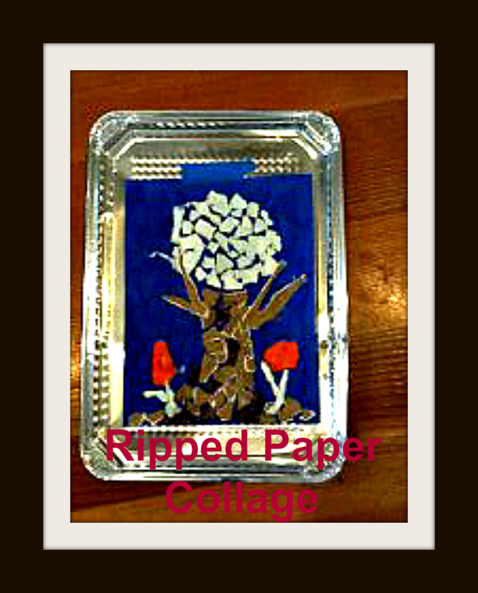 Ripped paper collage strengthens little fingers.