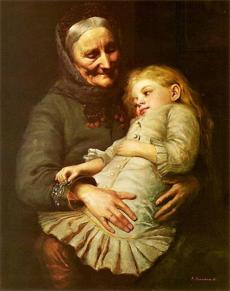 Grandmother's Lap. By Aleksander Mroczkowski (Polish painter 1850-1927)