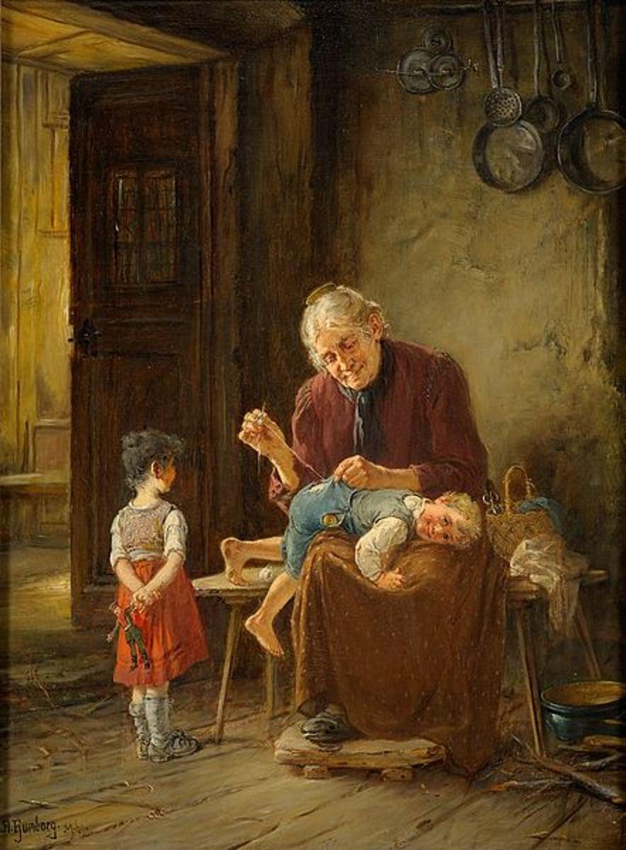 Grandmother's Stitching. Adolf Humborg (1847-1921)