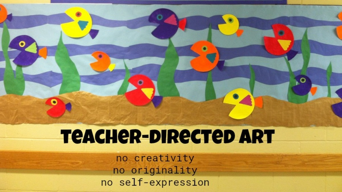 Many preschools today are decorated with teacher-directed art projects like the fish above. Everyone follows the sample and, sadly, they all wind up looking the same.