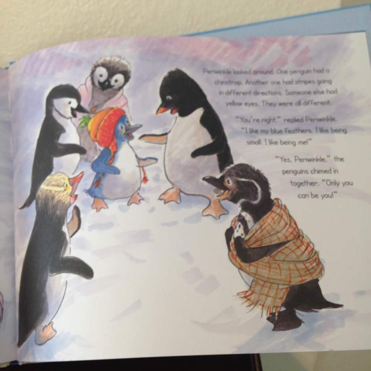 Periwinkle is the only blue penguin in her group